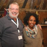 Rabbi Adland and Loni at Ethiopian hut.